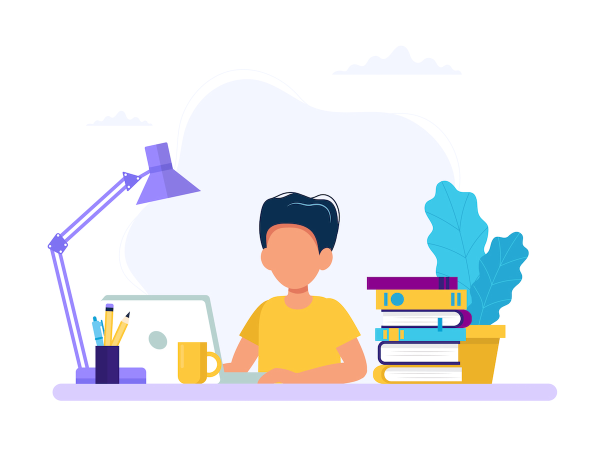 Boy studying with computer and books. Back to school, online education concept vector illustration in flat style