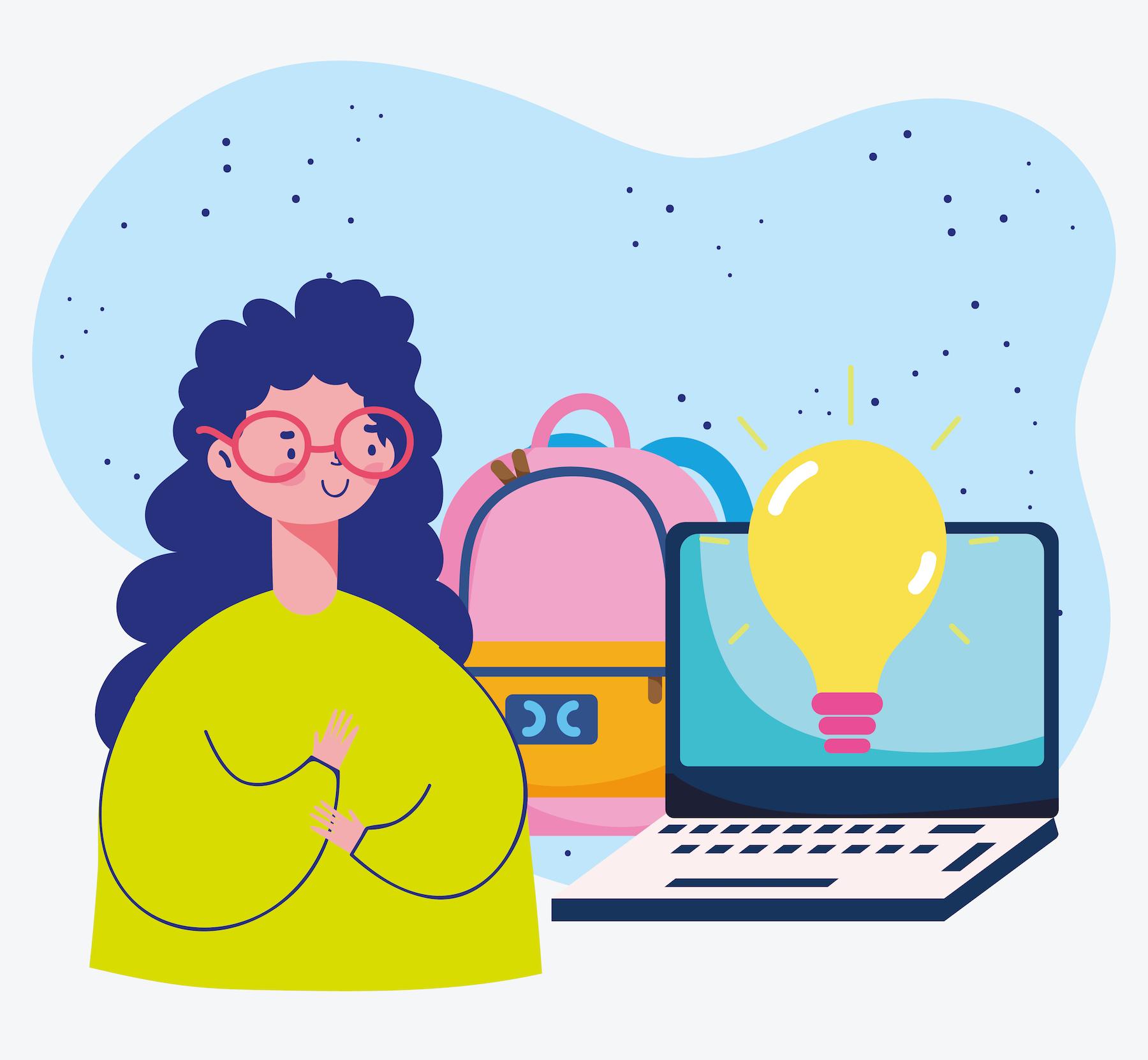 education online, student laptop backpack idea class
